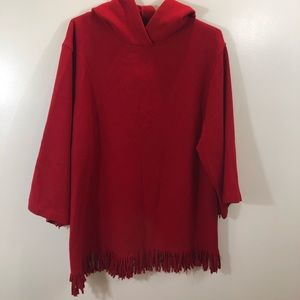 THEORY Red Fringe Hooded Poncho